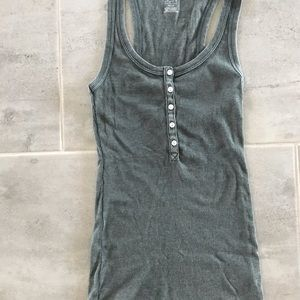 Aerie teal soft xs button front tank top